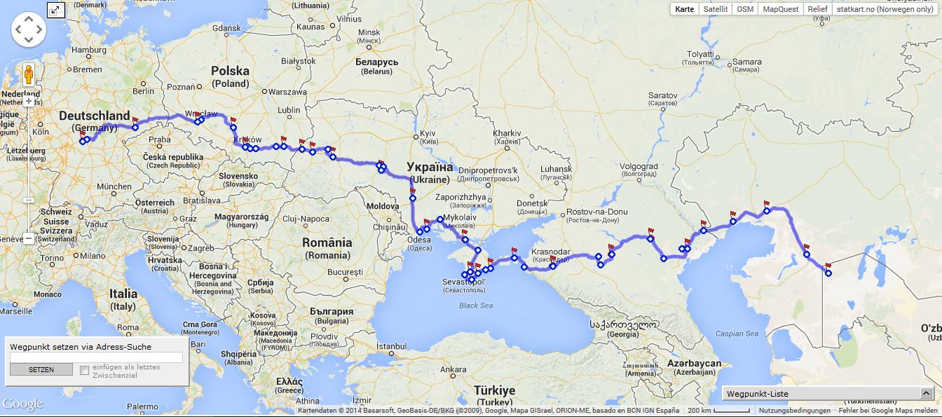 Unsere Reiseroute | Russland-Mongolei-Seidenstrasse 2013